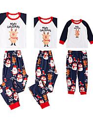 Недорогие -3 предмета Семейный вид Классический Рождество Повседневные Буквы Длинный рукав Обычный Набор одежды Белый