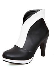Недорогие -Жен. Полиуретан Наступила зима Ботинки На шпильке Круглый носок Ботинки Белый / Красный / Контрастных цветов