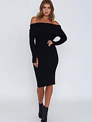 baratos -Mulheres Moda de Rua Tricô Vestido Sólido Altura dos Joelhos