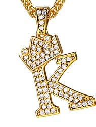 Недорогие -Муж. Цирконий Ожерелья с подвесками С логотипом имя Алфавит Первоначальные ювелирные изделия Медь Золотой 55 cm Ожерелье Бижутерия 1шт Назначение Подарок Повседневные