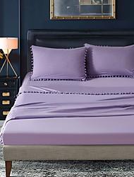 billige -bomuld quiltet solid farvet 1pc fladt ark / 1pc monteret plade / 1pc pudebetræk sengetæppe