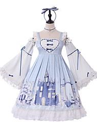 baratos -Doce Lolita Clássica e Tradicional Doce Princesa Chifon Feminino Vestidos Cosplay Azul Claro Borboleta Manga Longa Até os Joelhos Fantasias