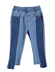 billige -Baby Jente Grunnleggende Daglig Fargeblokk Polyester Jeans Blå