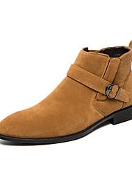 abordables -Homme Fashion Boots Daim Automne hiver Décontracté Bottes Augmenter la hauteur Bottine / Demi Botte Bloc de Couleur Noir / Marron