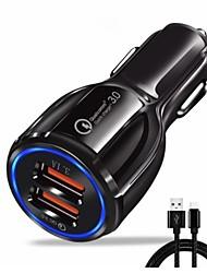 Недорогие -Автомобильное зарядное устройство Зарядное устройство USB Евро стандарт с кабелем / Несколько разъемов / QC 3.0 2 USB порта 3.1 A DC 5V для