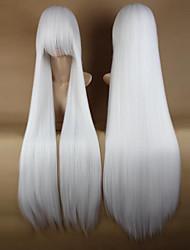 Недорогие -Парики из искусственных волос / Маскарадные парики Прямой Kardashian Стиль С чёлкой Без шапочки-основы Парик Белый Белый Искусственные волосы 34 дюймовый Жен. Для вечеринок / Боковая часть Белый Парик
