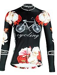 billige -ILPALADINO Dame Langærmet Cykeltrøje - Sort Mode Cykel Toppe Ultraviolet Resistent Sport Vinter Elastin Bjerg Cykling Vej Cykling Tøj