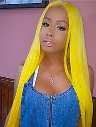 cheap -Synthetic Lace Front Wig Straight Blonde Middle Part Yellow Synthetic Hair 22-26 inch Women's Heat Resistant / Women / Middle Part Blonde Wig Long Lace Front / Glueless