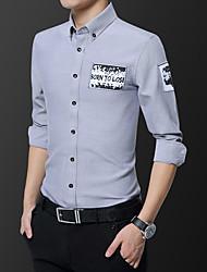 Недорогие -Муж. С принтом Рубашка Классический Однотонный