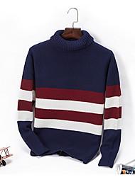 tanie -Męskie Codzienny Moda miejska Kolorowy blok Długi rękaw Regularny Pulower, Golf Niebieski / Czarny XL / XXL / XXXL