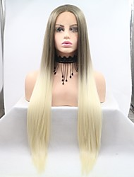 cheap -Synthetic Lace Front Wig kinky Straight Golden Layered Haircut Light golden 130% Density Synthetic Hair 26 inch Women's Women Golden / Light Brown Wig Medium Length Lace Front Sylvia / Yes