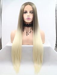 Χαμηλού Κόστους -Συνθετικές μπροστινές περούκες δαντέλας Κατσαρά Ίσια Χρυσό Κούρεμα με φιλάρισμα Ανοικτό Χρυσαφί 130% Ανθρώπινο πυκνότητα των τριχών Συνθετικά μαλλιά 26 inch Γυναικεία Γυναικεία Χρυσό / Ανοικτό Καφέ