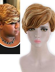 billige -Blondeparykker af menneskehår Kinky Glat Stil Mellemdel Lågløs Paryk Mørkebrun Lys Gylden Syntetisk hår 26 inch Dame Dame Mørkebrun Paryk Lang Naturlig paryk