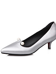 cheap -Women's Faux Leather / PU(Polyurethane) Spring &  Fall Minimalism Heels Kitten Heel Pointed Toe Imitation Pearl Silver / Red / Pink / Party & Evening