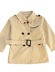 tanie -Dzieci Dla dziewczynek Vintage Solidne kolory Długi rękaw Akryl / Poliester Trenczy Khaki