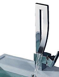 Недорогие -Современный По центру Водопад Керамический клапан Одной ручкой одно отверстие Хром, Ванная раковина кран