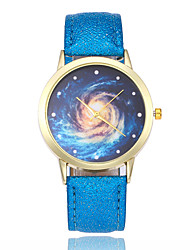 Недорогие -Жен. Наручные часы Кварцевый Кожа Черный / Белый / Синий Повседневные часы Аналоговый Дамы Мода World Map Pattern - Синий Розовый Светло-синий