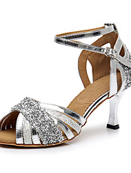 Недорогие -Жен. Обувь для латины Лакированная кожа / Синтетика На каблуках Блеск Кубинский каблук Персонализируемая Танцевальная обувь Серебряный