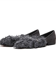Недорогие -Жен. Шерсть / Кожа Осень На плокой подошве На плоской подошве Круглый носок Черный / Серый