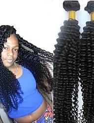 Недорогие -6 Связок Перуанские волосы Kinky Curly Натуральные волосы Необработанные натуральные волосы Головные уборы Человека ткет Волосы Уход за волосами 8-28 дюймовый Естественный цвет Ткет человеческих волос