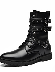 baratos -Homens Sapatos Confortáveis Couro Ecológico Outono & inverno Botas Botas Cano Médio Preto
