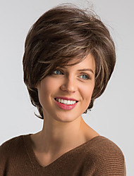 Недорогие -Парики из искусственных волос Естественный прямой Коричневый Стрижка боб / Стрижка под мальчика Бежевый Искусственные волосы 10 дюймовый Жен. Модный дизайн / Новое поступление / Природные волосы