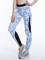 billige -LUCK PANTHER Dame Patchwork Yoga bukser - Sort / Blå Sport Blomstret mønster Spandex Tights Løb, Fitness, Træningscenter Sportstøj Åndbart, Svedtransporende, Power flex Høj Elasticitet Tynde / Vinter