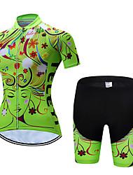 Недорогие -Жен. С короткими рукавами Велокофты и велошорты - Зеленый Цветочные / ботанический Велоспорт Наборы одежды Дышащий Быстровысыхающий Виды спорта Полиэстер Цветочные / ботанический / Эластичная