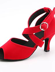 baratos -Mulheres Sapatos de Dança Latina Cetim Sandália / Têni Presilha Salto Alto Magro Personalizável Sapatos de Dança Preto / Luz Vermelha / Azul
