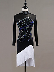 economico -Balli latino-americani Vestiti Per donna Prestazioni Elastene Nappa / Cristalli / Strass Manica lunga Abito