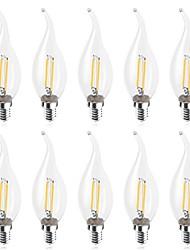 abordables -10pcs 2 W 160-180 lm E14 Ampoules à Filament LED C35L 2 Perles LED COB Décorative Blanc Chaud / Blanc Froid 220-240 V