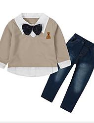 お買い得  -子供 男の子 活発的 / ストリートファッション 日常 / お出かけ パッチワーク パッチワーク 長袖 レギュラー レーヨン アンサンブル ベージュ