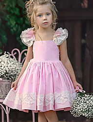 Недорогие -Дети Девочки Милая Повседневные Однотонный Кружева Без рукавов До колена Полиэстер Платье Розовый