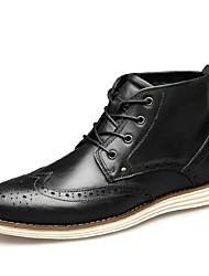 baratos -Homens Sapatos Confortáveis Pele Napa Outono & inverno Botas Botas Curtas / Ankle Preto / Café / Marron