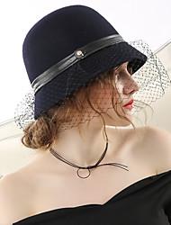 Недорогие -Чудесная миссис Мейзел вуаль Колпак шляпа шляпа Дамы Ретро Жен. Черный Конструкция САР Хлопок / полиэфир костюмы