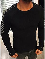 Недорогие -Муж. Повседневные Классический Контрастных цветов Длинный рукав Обычный Пуловер Черный / Темно синий / Военно-зеленный XL / XXL / XXXL