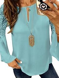Недорогие -женская блуза - цветной блок / однотонная шея
