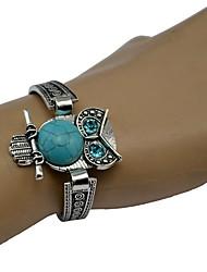 abordables -Bracelet Jonc Femme Rétro Turquoise Chouette dames Bohème Ethnique Bracelet Bijoux Argent pour Quotidien