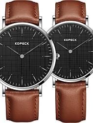 Недорогие -Kopeck Для пары Наручные часы электронные часы Японский Японский кварц Натуральная кожа Черный / Коричневый / Шоколадный 30 m Защита от влаги Повседневные часы Аналоговый Мода минималист -