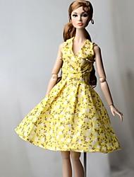 Недорогие -Платье куклы Платья Для Barbie Цветочный принт Цветы Цветочные ботанический Светло-желтый Ткань Хлопковая ткань Нетканый материал Платье Для Девичий игрушки куклы