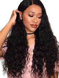 Недорогие -человеческие волосы Remy Натуральные волосы Лента спереди Парик Перуанские волосы Свободные волны Черный Парик Глубокое разделение 250% Плотность волос / Природные волосы / с детскими волосами