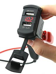 Недорогие -5v 4.2a автомобильное зарядное устройство с двумя портами USB светодиодный цифровой вольтметр с проводами и изолированными термоусадочными разъемами для грузовика и мотоцикла