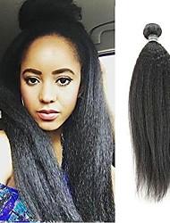Недорогие -6 Связок Естественные прямые Натуральные волосы Необработанные натуральные волосы Головные уборы Человека ткет Волосы Уход за волосами 8-28 дюймовый Естественный цвет Ткет человеческих волос / 8A