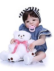 Недорогие -NPKCOLLECTION NPK DOLL Куклы реборн Кукла для девочек Девочки 24 дюймовый Полный силикон для тела Силикон - как живой Подарок Искусственная имплантация Коричневые глаза Детские Девочки Игрушки Подарок