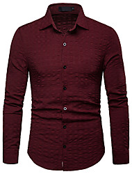 Недорогие -Муж. С принтом Рубашка Деловые / Классический Однотонный