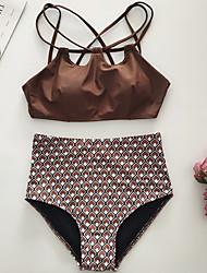 6820b7f11b Women s Sporty Basic Strap Light Brown Cheeky High Waist Bikini Swimwear -  Solid Colored Polka Dot Geometric Backless Lace up M L XL Light Brown    Super ...