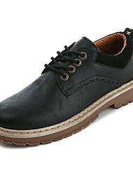 baratos -Homens Sapatos Confortáveis Couro Ecológico Inverno Formais Oxfords Não escorregar Preto / Marron