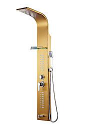 Недорогие -Смеситель для душа - Современный Ti-PVD Душевая система Керамический клапан Bath Shower Mixer Taps / Нержавеющая сталь / Одной ручкой три отверстия