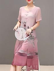 abordables -Femme Grandes Tailles Sortie Chinoiserie Midi Mousseline de Soie Robe - Imprimé, Fleur Eté Bleu Rouge XL XXL XXXL Manches Courtes