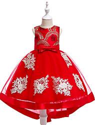 お買い得  -子供 女の子 活発的 / 甘い パーティー / 祝日 フラワー ノースリーブ アシメントリー ドレス ブルー
